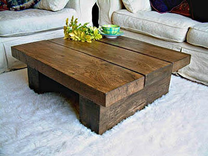 Wood Coffee Tables Idea Table Chunky Living Room Chunky Rustic Plank Family Room Furniture (View 10 of 10)