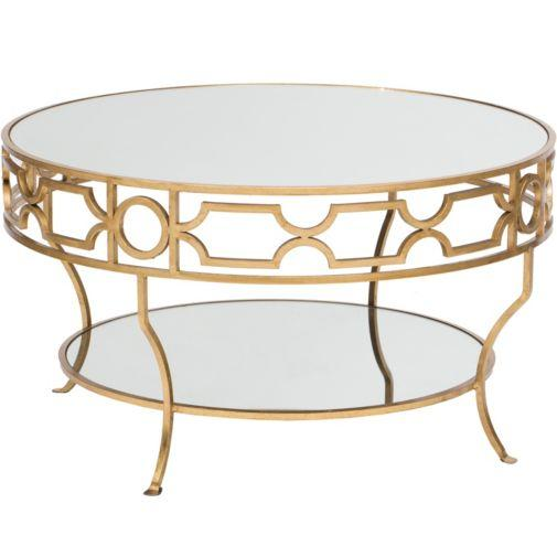 Worlds Away Worlds Away Gold Leaf Iron Round Coffee Table With Beveled Glass Top 36 Inch (Image 9 of 10)
