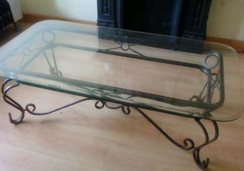 Showing Photos Of Wrought Iron Glass Coffee Tables View 9