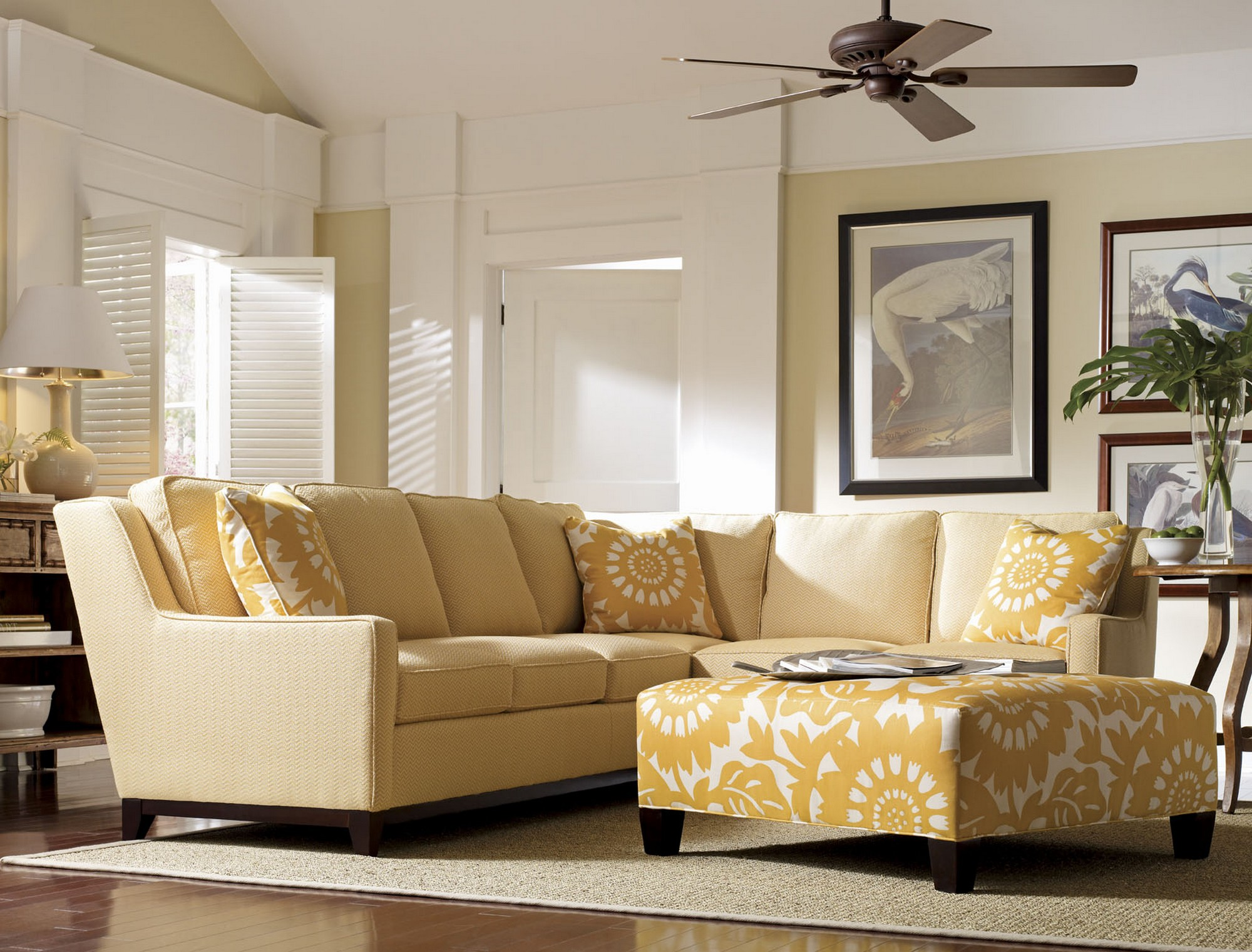 Yellow-Ottoman-Coffee-Table-For-Contemporary-Living-Room-Design-With-Ceiling-Fan (Image 6 of 8)