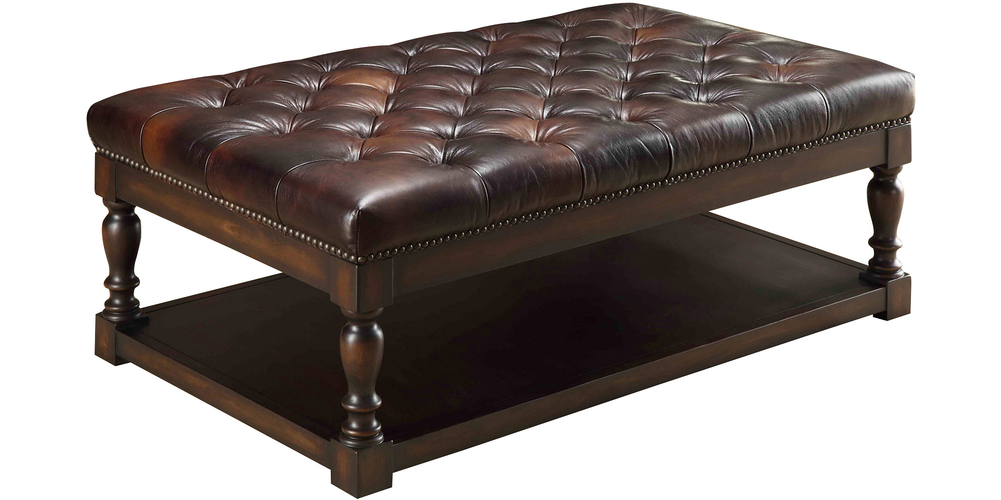 Featured Photo of  Round Leather Storage Ottoman Coffee Table