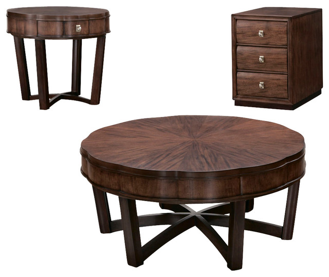 American Drew Miramar 3 Piece Round Coffee Table Set In Auburn Traditional Coffee Table Furniture Round Coffee Table Sets (Image 2 of 10)