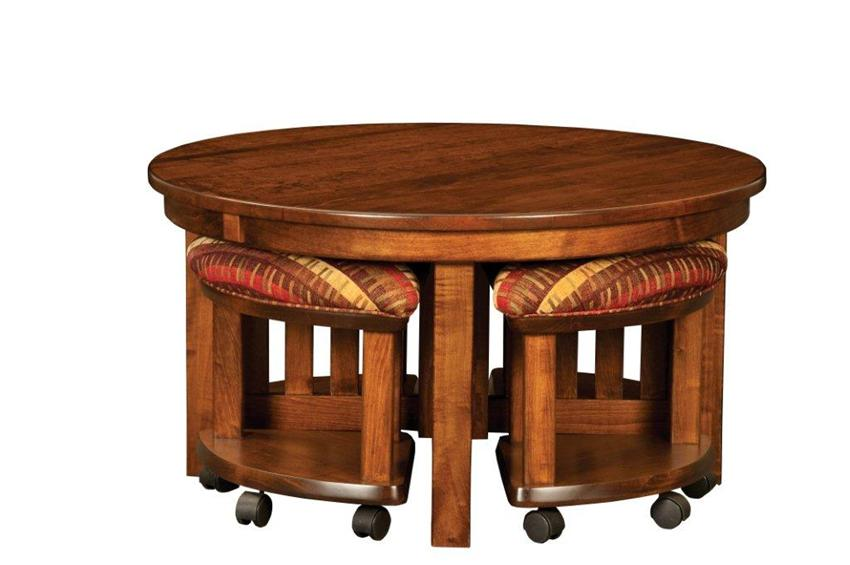 amish-mission-round-coffee-table-and-stool-set-with-hydraulic-lift-round-mission-coffee-table-round-oak-end-tables (Image 1 of 10)