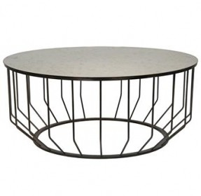 An Unexpected Pairing Of Brilliant Antiqued Glass And Black Sculpted Metal Create An Eclectic Coffee Table Metal Round Coffee Table (View 2 of 10)