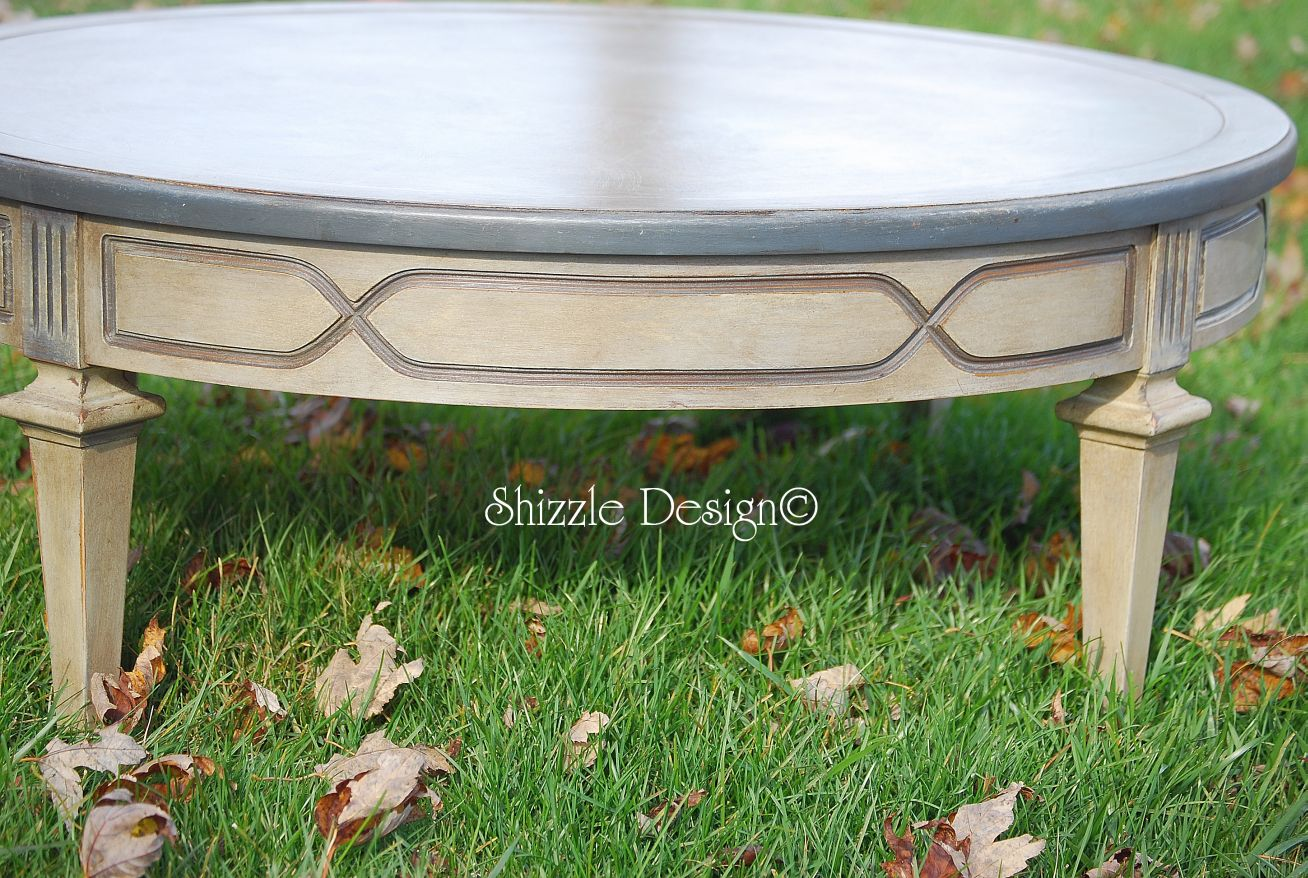 Antique Round Coffee Table With Old World Patina Enter Annie Sloan Chalk Paint Painted