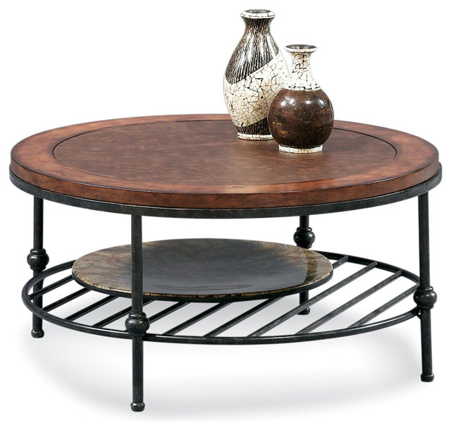 Awesome Bentley Round Cocktail Table Contemporary Coffee Tables Round Wood With Black Steel Stained 4 Legs And Shelf (Image 2 of 10)