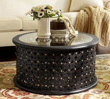 Bamilkeke Round Carved Wood Coffee Table With Glass