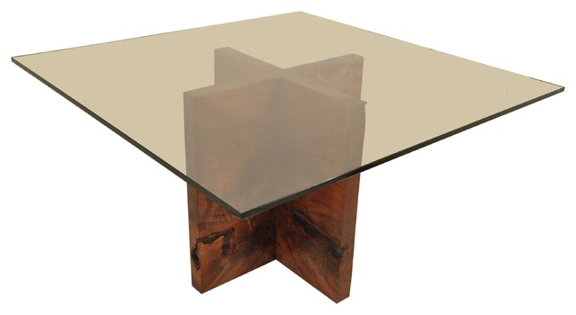 Base For Glass Coffee Table Claro Walnut Dining Table Base Square Glass Top Modern Coffee Tables (Image 3 of 10)
