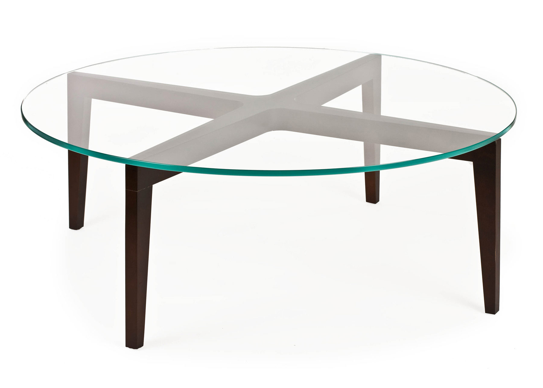 Base For Glass Coffee Table MOT56 Simple Elegance Wood Base Tables With Round Glass Tops End Table 20.5 H X 23 42 X 15 H In Glass Or Starfire Glass (Image 4 of 10)