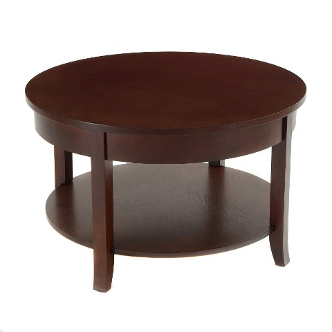 bay-shore-collection-round-coffee-table-with-shelf-espresso-30-inch-espresso-finish-coffee-table-round-coffee-table-for-sale (Image 2 of 10)