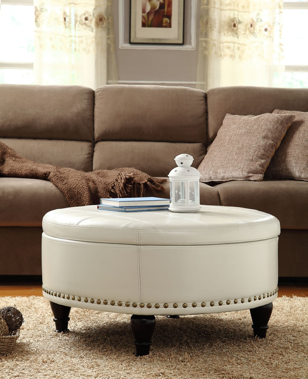 Beautiful Coffee Table Ottoman Sets For Living Room Round Upholstered Ottoman Coffee Table Mesmerizing Living Room With White Round Ottoman 1 (Image 1 of 10)
