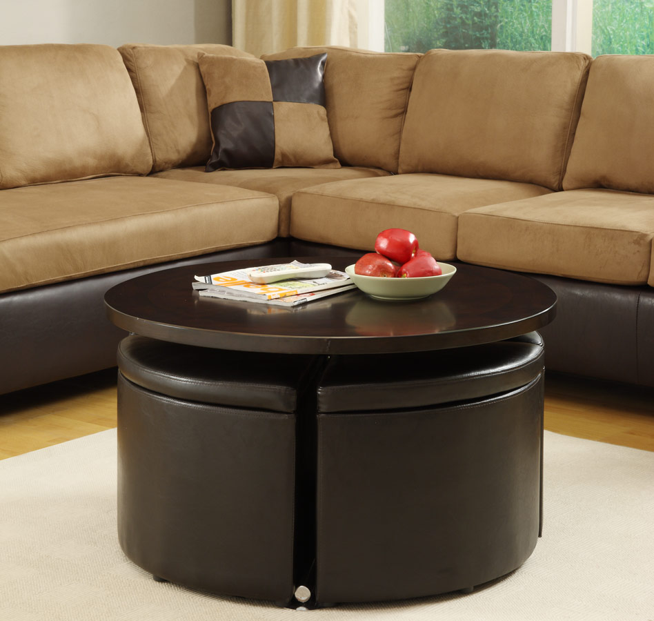 Beautiful Coffee Table Ottoman Sets For Living Room Sedona Round Ottoman Coffee Table For Contemporary Round Coffee Table With Storage Ottomans (Image 2 of 10)