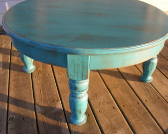 Beautiful Funky Handcrafted Distressed Turquoise 36 Inch Round 18 Inch Tall Coffee Table Distressed Round Coffee Table (Image 1 of 10)