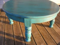 Beautiful Funky Handcrafted Distressed Turquoise 36 Inch Round 18 Inch Tall Coffee Table Round Tosca Vintage Coffee Table 36 Inch Round Coffee Table (View 2 of 10)