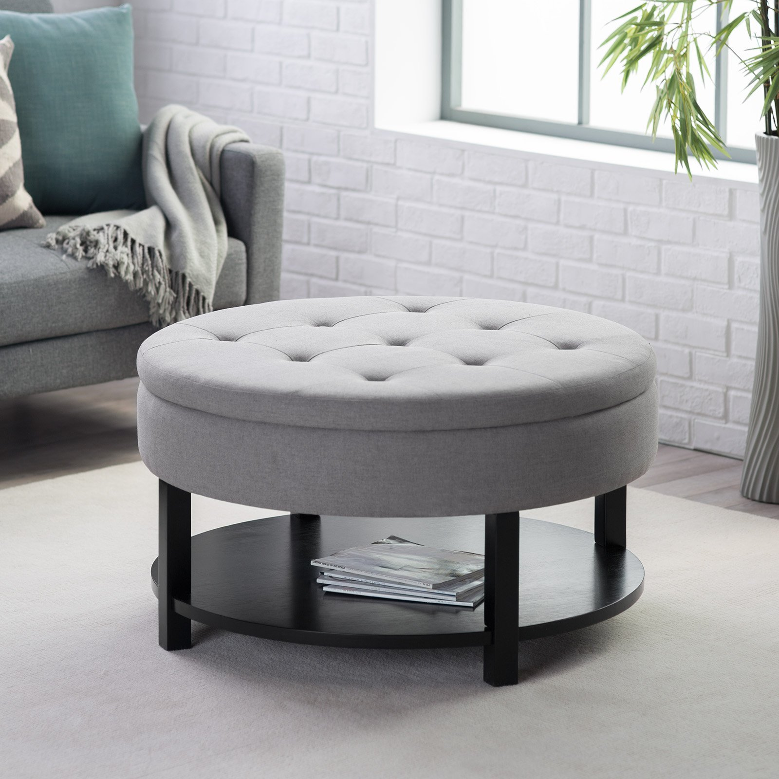 2017 Latest Round Ottoman Coffee Table with Storage