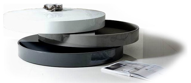Black And White Contemporary Transforming Round Coffee Table With Storage Mooka Modern Coffee Tables Large Coffee Tables (Image 1 of 10)