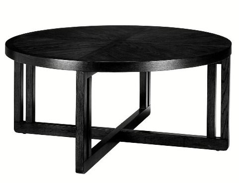 Black Lombard Round Coffee Table Tables Large Living