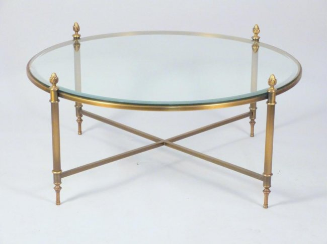 brass-and-glass-round-coffee-table-round-brass-coffee-table-brass-tray-coffee-table-vintage-brass-coffee-table (Image 1 of 10)