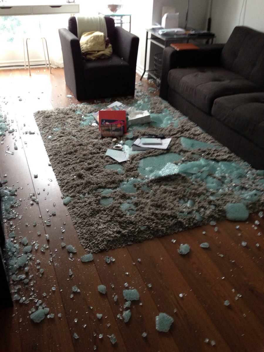 Broken Glass Coffee Table Came Home From Work Today To Find Our Coffee Table Had Exploded Images Gallery (View 2 of 9)