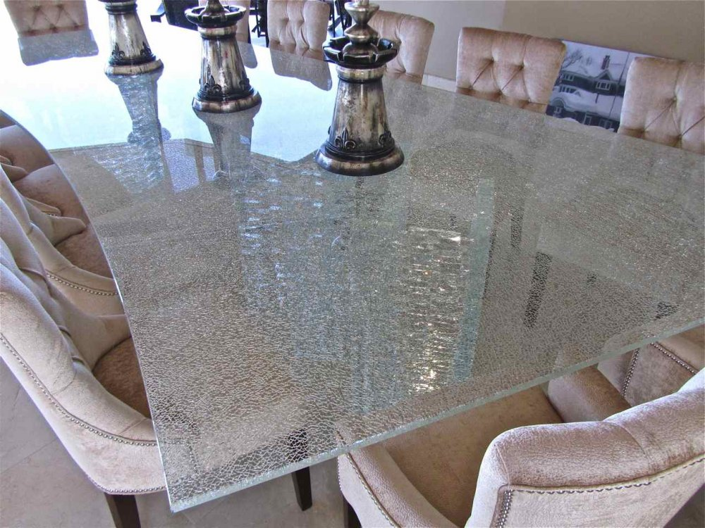 Broken Glass Coffee Table The Crackle Glass Table Top Of The Knox Collection Is A Bold And Unexpected Statement In Your Ultra (View 7 of 9)