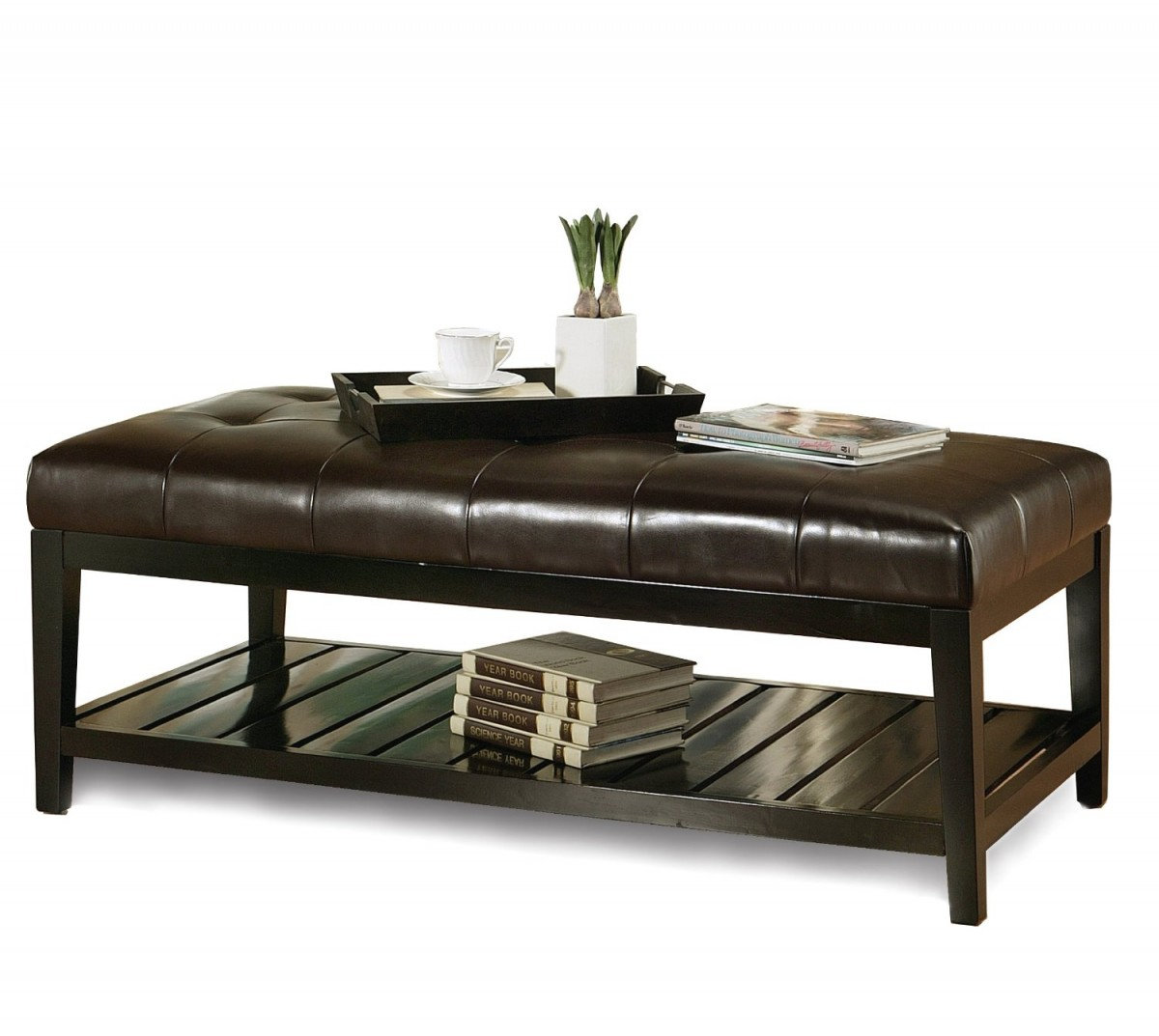 Featured Photo of Original Leather Ottoman Coffee Table Rectangle High Quality