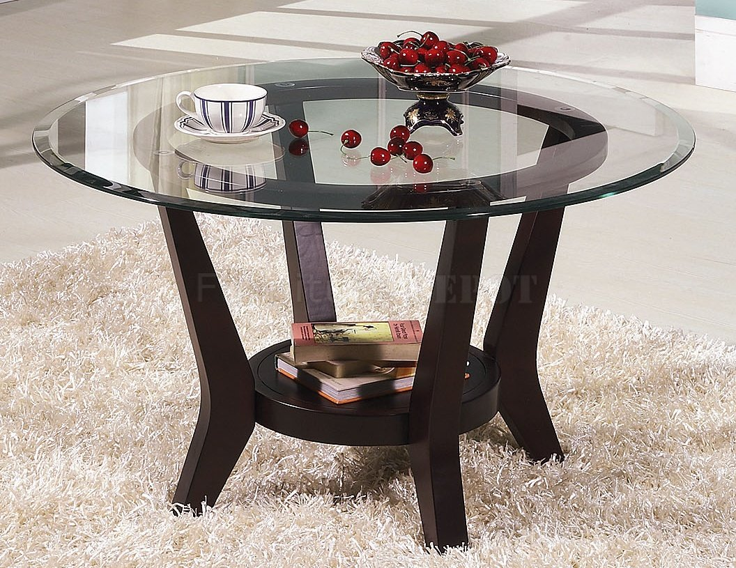 Brown Cherry Coffee Table And End Tables 3pc Set With Clear Glass Top Elegant Round Coffee Table And End Tables Interior (View 3 of 10)