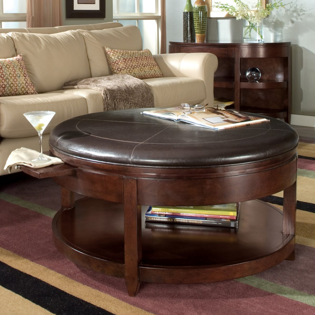 Brown Round Leather Ottoman Coffee Table Round Coffee Table Ottomans Round Leather Storage Ottoman (View 2 of 10)