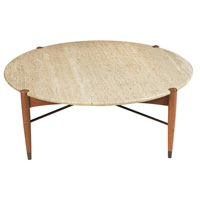 bruno-mathsson-coffee-table-by-dux-sweden-round-travertine-top-with-notches-for-the-four-beech-leg-posts-metal-cross-stretchers-round-travertine-coffee-table (Image 1 of 8)