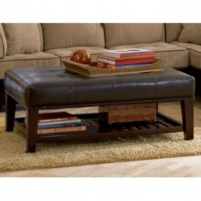 Byrelax Tufted Dark Brown Faux Leather Coffee Table Ottoman Modern Wood Coffee Table Reclaimed Metal Mid Century Round Natural Diy Padded Large Ottom (Image 2 of 10)
