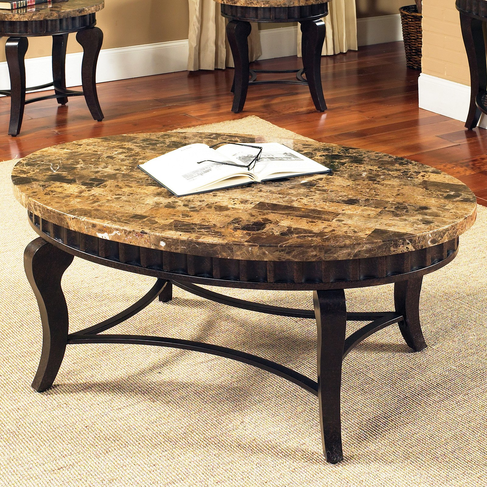Amazing Charming Round Natural Brown Granite Top Coffee Table With Four Black  Wooden Legs On Ivory Rug