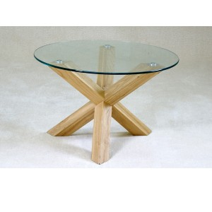Chinon Small Round Glass Coffee Table Shimmer Small Round Coffee Table Glass Round Coffee Table Glass Top Wooden Oak Legs (Image 2 of 10)