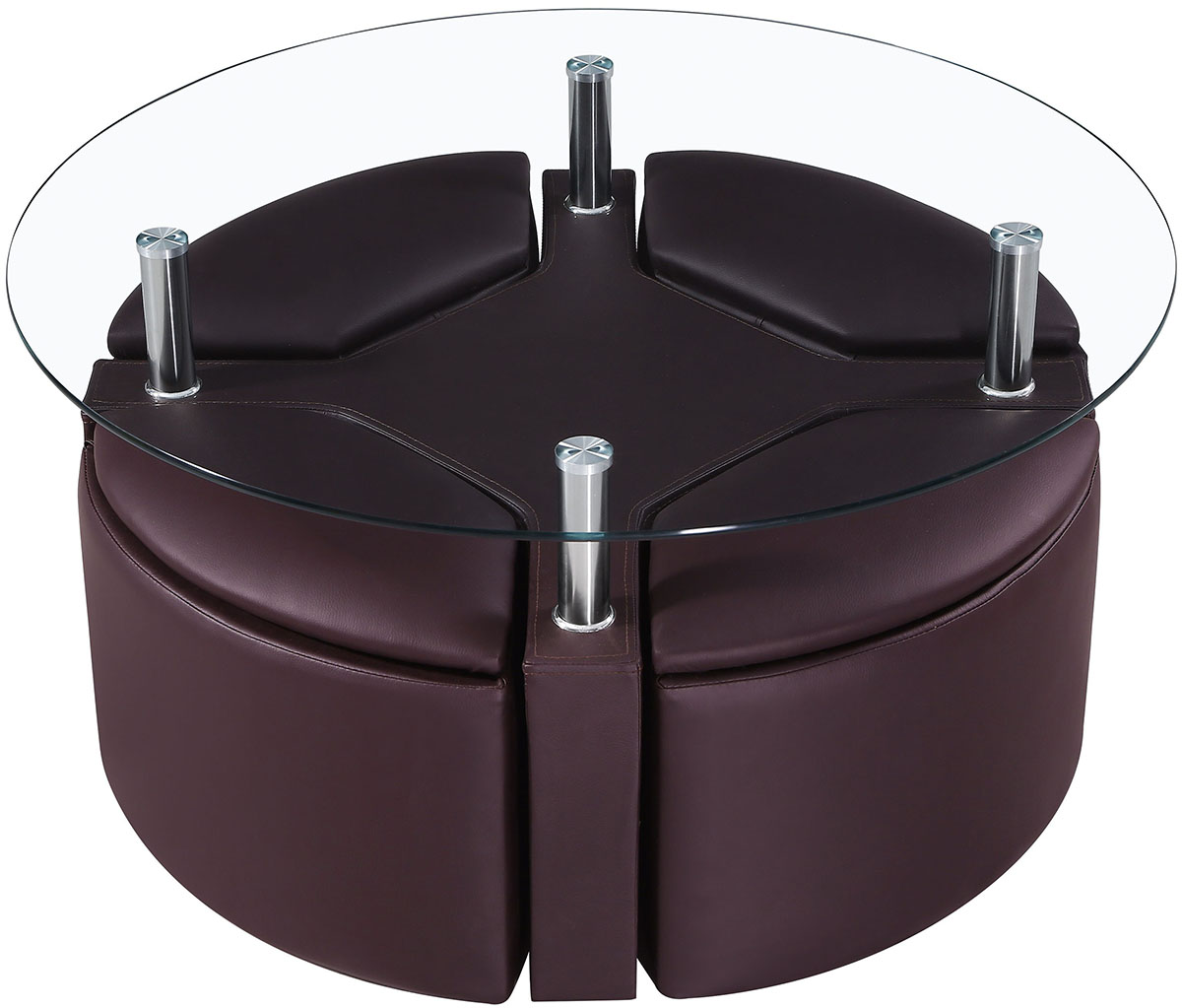Choose Unique Convenient And Secure Coffee Table Ottoman Storage Coffee Table On The Basis Of Pouf And Frameless Glass Countertop Black Round Ottoman Coffee Table (Image 3 of 10)