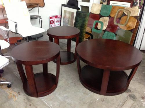 2017 Popular Dark Wood Round Coffee and End Table Sets