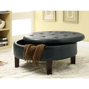 Coaster Storage Ottoman Dark Brown Round Coffee Table With Storage Ottomans Round Upholstered Ottoman Coffee Table (Image 4 of 10)