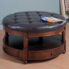 Round Leather Ottoman Coffee Table With Storage The Coffee Table