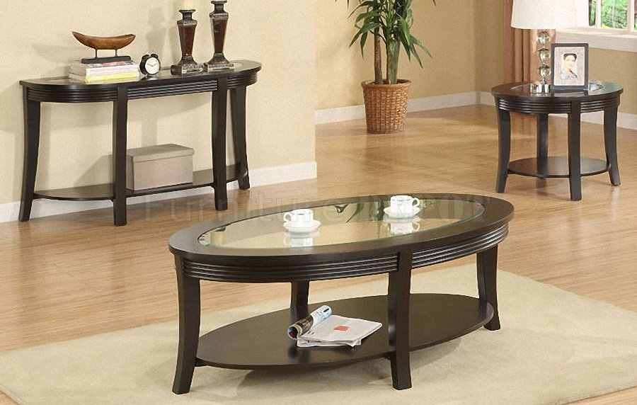 coffee-and-end-table-set-Dark-Espresso-Coffee-Console-features-a-polished-all-wood-construction-complimented (Image 5 of 10)