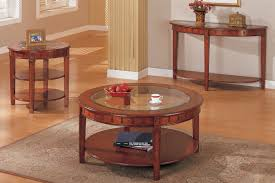 Coffee Table And Matching End Table And Console Round Oak Veneer With Glass Top Round Coffee And End Table Sets (Image 4 of 10)