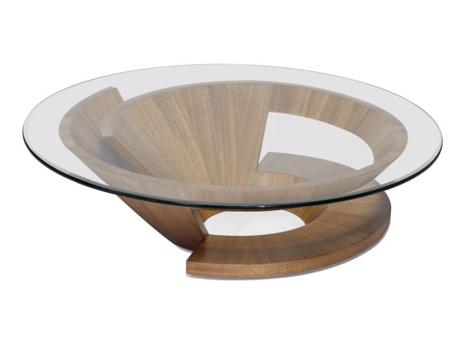 Featured Photo of Round Glass Top Coffee Table With Wood Base