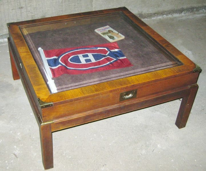 Coffee Table With Glass Display Case 70s Campaign Style Wood Each Panel Was Made From A Piece That Was Resawn And Opened Up Into A Book Match (Image 1 of 10)