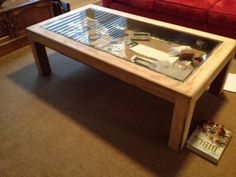 Coffee Table With Glass Display Case Custom Made Occasional Table The Top Was Made By The Clients Father And Lay Around Unfinished For 40 Years (Image 4 of 10)