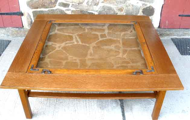 Coffee Table With Glass Display Case Immediately Below This Was Made In 2009 To Incorporate The Top Already Owned By The Woman For Whom The Was Made (Image 8 of 10)