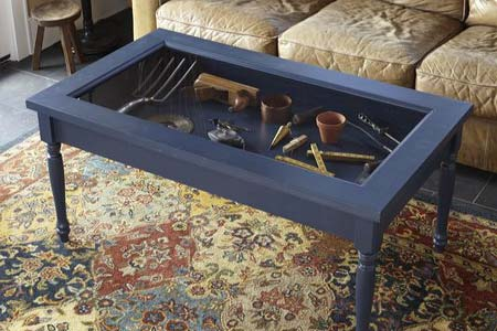 Coffee Table With Glass Display Case Over Which Time The Inlays Had Moved And Opened Up The Top Has Blue Color Stained (View 9 of 10)