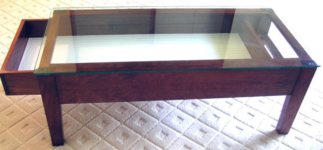 Coffee Table With Glass Display Case The Drawer Bottom Of The Top Shelf Is 4 Little Raised Panels With Display Drawer (Image 10 of 10)