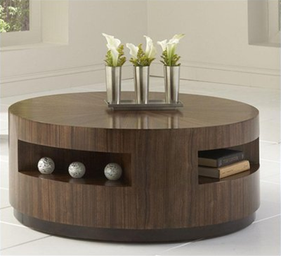 coffee-table-with-storage-ideas-round-coffee-table-with-drawer-wood-veneer-coffee-table-in-versatile-round-shape (Image 2 of 10)