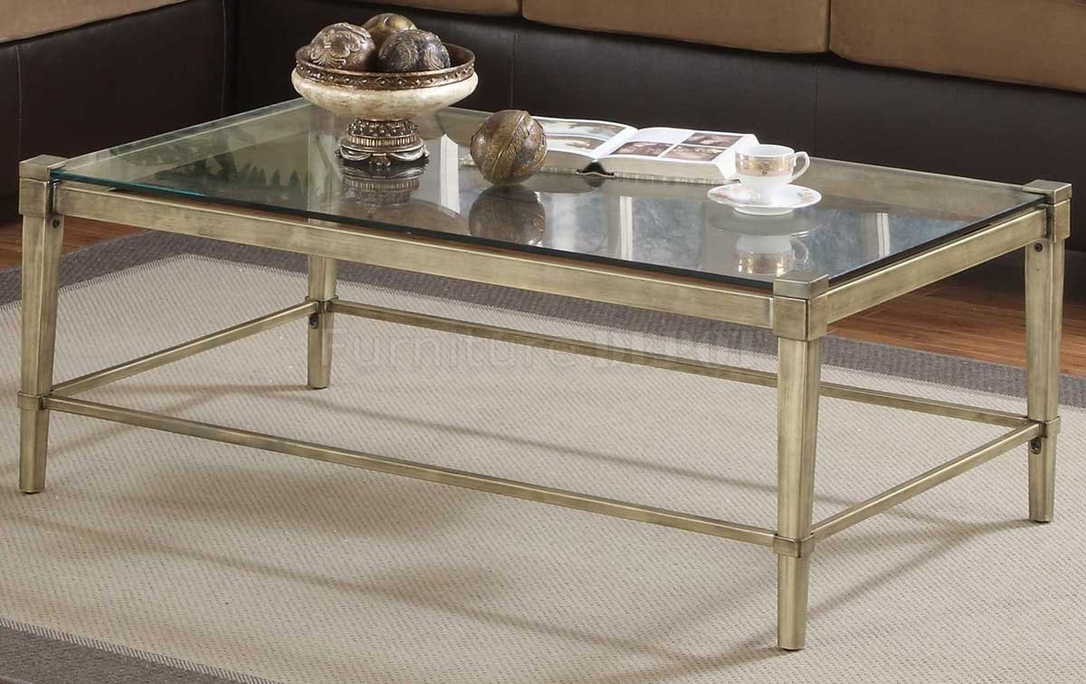 Coffee Tables Metal And Glass Sturdy Rectangular Modern Style Table Its Durable Frame Is Made Of Steel Finished In Grey (Image 4 of 10)