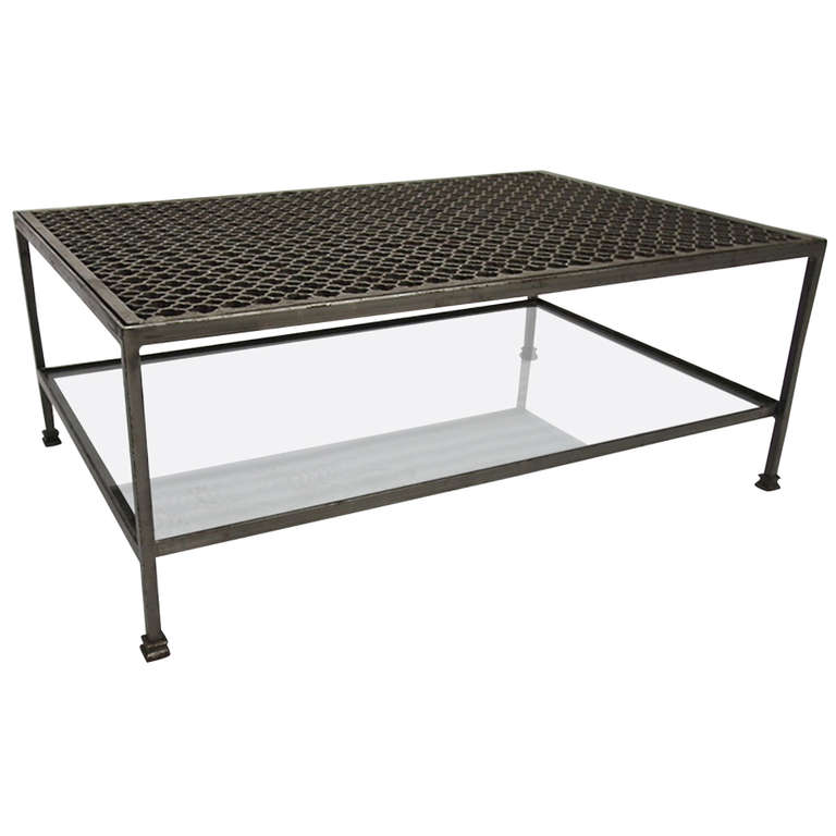 Coffee Tables Metal And Glass Vintage Faux Bamboo Metal Coffee Table With Glass Top In Solid Steel Circa 1980 American (Image 9 of 10)