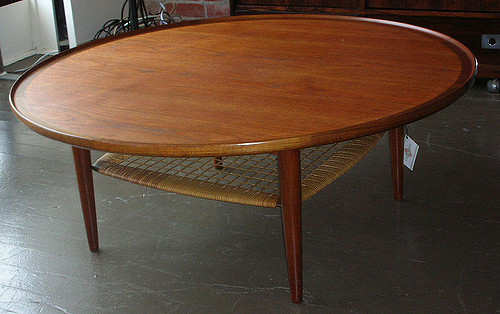 Great Collective Ballard Round Danish Teak Coffee Table Cane Shelf Round Teak Coffee  Table Round Low Teak