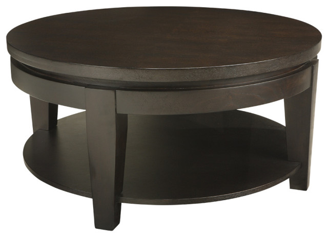 Contemporary Coffee Tables Asia Round Coffee Table Espresso Contemporary Coffee Tables (Image 2 of 10)
