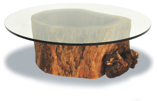 Contemporary Coffee Tables Round Glass Top Coffee Table Hollow Trunk Coffee Table Round Glass Top (View 2 of 10)