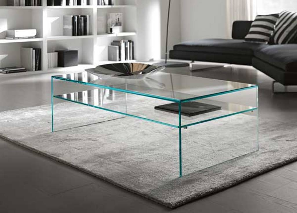 Contemporary Glass Coffee Table Contemporary Coffee Table Has A Large Rectangular Tempered Glass Top With A Sleek High Gloss White Angular Base (Image 3 of 7)